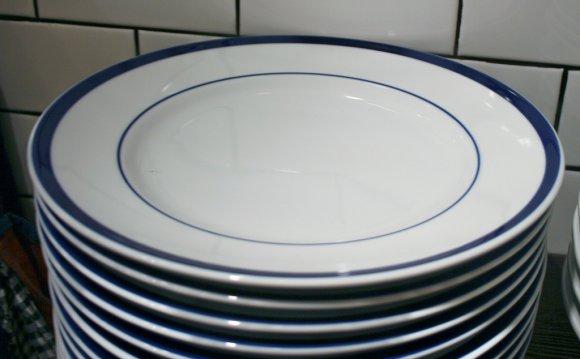 Blue Rimmed Bistro Plates At