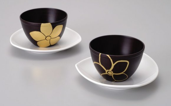 Gold Flower Black Bowl