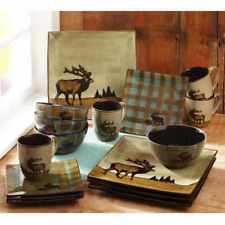 Square Dishes Kitchen Service 16 Piece Dinnerware Set Hunter Deer Pattern Plates